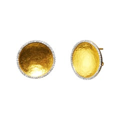 GURHAN 24 Karat Hammered Yellow Gold and White Diamond Clip Post Button Earrings