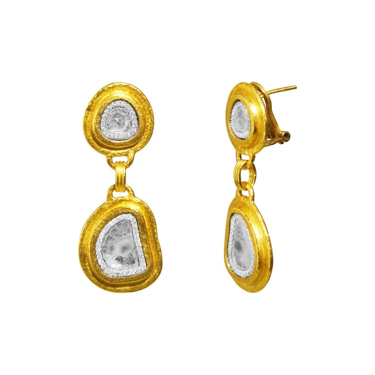 24 Karat Hammered Gold Double Drop and Diamond Slice Clip Post Earring For Sale