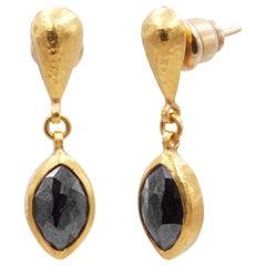 24 Karat Hammered Gold Marquise Rosecut Black Diamond Drop Earrings