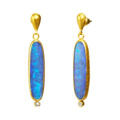 24 Karat Hammered Gold Opal and Diamond Drop Earring