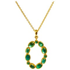 24 Karat Hammered Gold Open Oval Emerald Pendant Necklace
