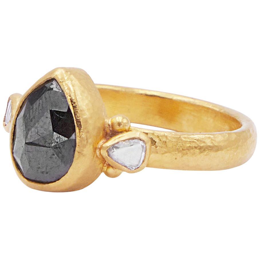 GURHAN 24 Karat Hammered Yellow Gold Pear Rosecut Black and White Diamond Ring