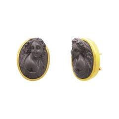 24 Karat Hammered Gold Pompeii Lava Cameo Clip Post Earrings