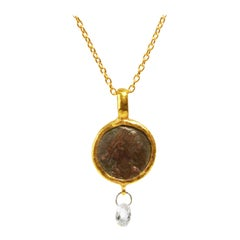 24 Karat Hammered Gold Roman Coin and Briolette Diamond Pendant Necklace