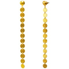 GURHAN 24 Karat Hammered Yellow Gold Shoulder Duster Earrings
