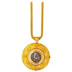 24 Karat Handgefertigte Abgeschrägte Granulierte Münzen Halskette