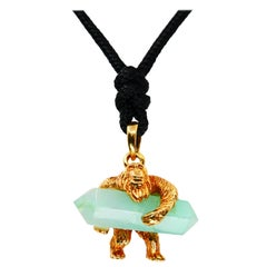 24 Karat Pure Gold and Green Crystal Gorilla Pendant Necklace, 9999 Yellow Gold