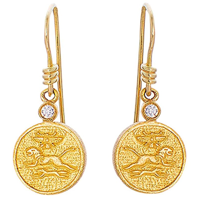 24 Karat Pure Gold Handcrafted Mios Ancient Egyptian Style Earrings For Sale