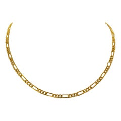 24 Karat Pure Yellow Gold Ladies Figaro Link Chain Necklace