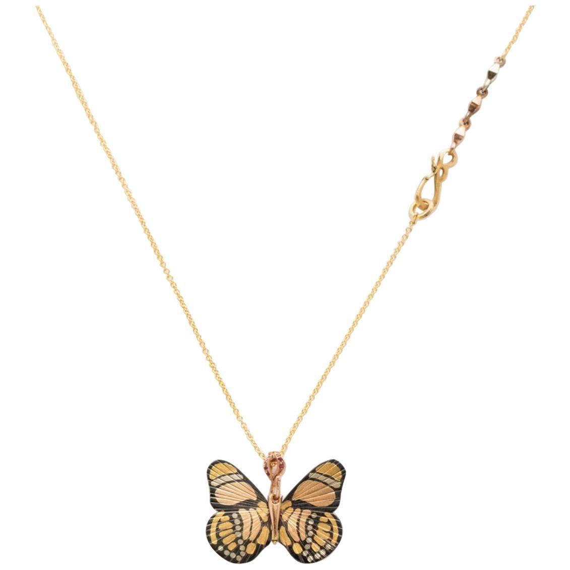 24 Karat Shakudo Baby Callicore Butterfly Hinge Necklace
