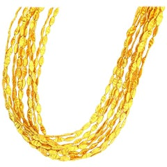 24 Karat Yellow Gold '10' Strand Necklace with Hammered Gold Links