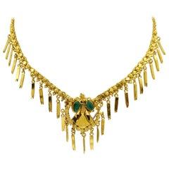 24 Karat Yellow Gold and Emerald Tassel Necklace