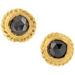 24 Karat Yellow Gold Black Diamond Stud Earrings