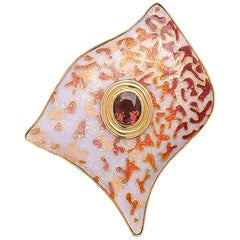 24 Karat Yellow Gold Cloisonné Enamel Tourmaline Brooch