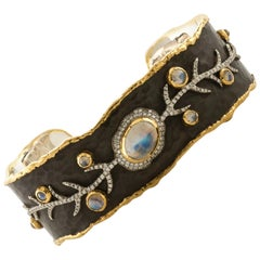 Victor Velyan 24K Yellow Gold Cuff with Moonstone and Diamonds