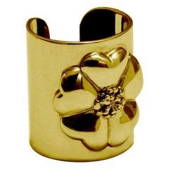24 Karat Yellow Gold Vermeil Blossom Cuff Ring