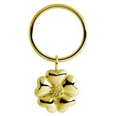 24 Karat Yellow Gold Vermeil Large Blossom Dangle Ring