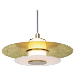 Klein Pendant with Milk Glass, Etched and Polished Shade and Satin Brass Details
