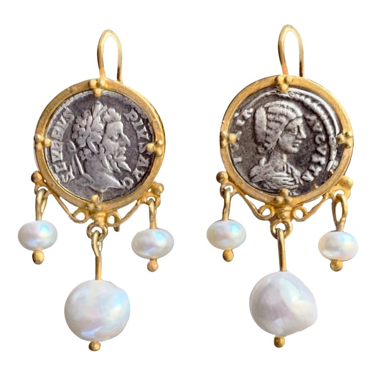Baroque coin beaded earrings on Gilded Sterling