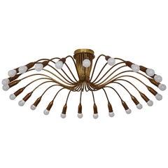 """24-Light Brass """"Spider"""" Flush Mount, Sputnik Chandelier, Sarfatti, circa 1950s"""