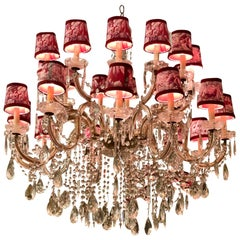 24 Light French Crystal Chandelier with Manuel Canovas Toile Shades