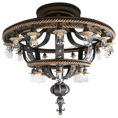 24-Light Iron and Brass Flush Mount Chandelier