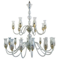 24-Light Mid Century Modern Chandelier by Cenedese in Murano Glass, circa 1970