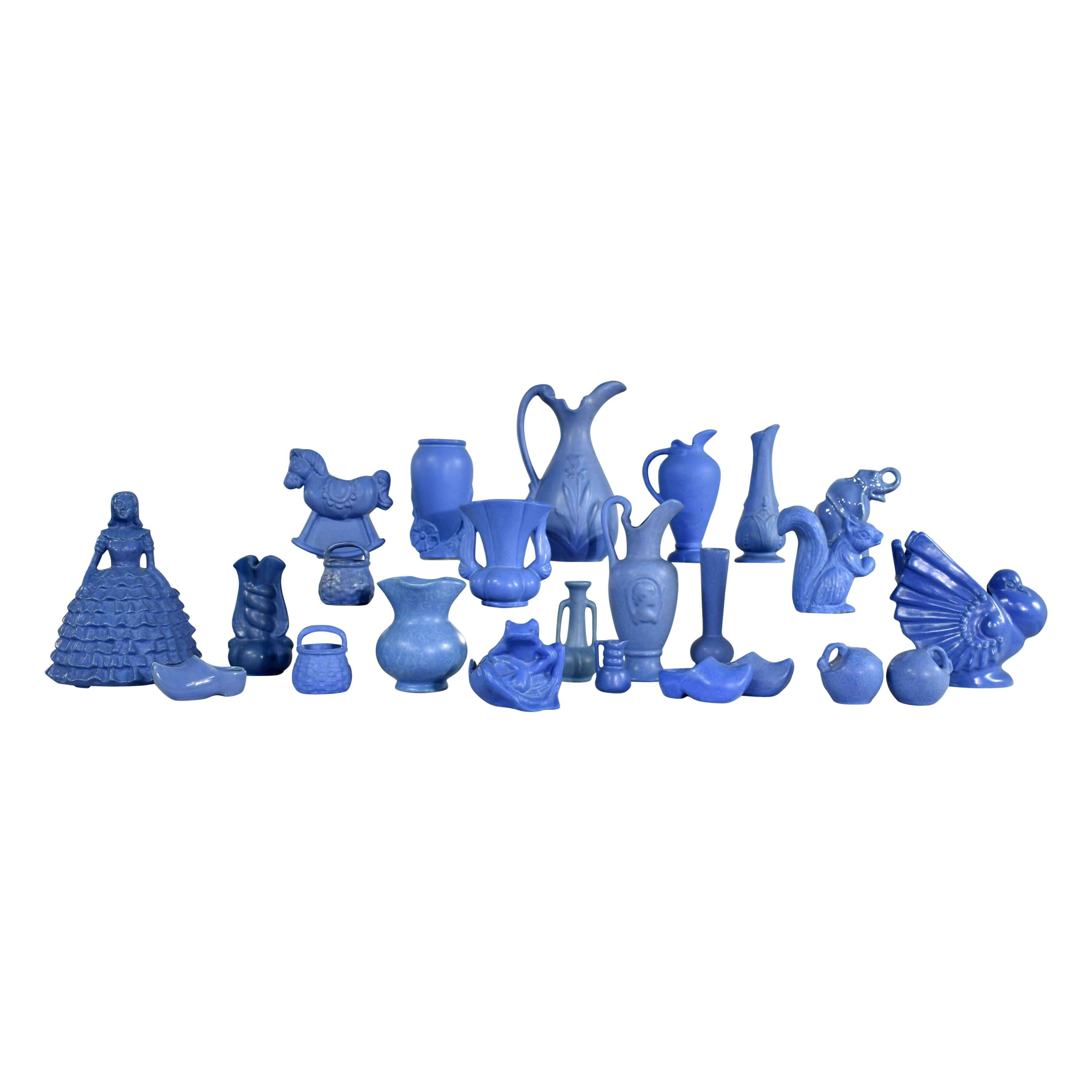 24-Piece Collection of Blue Niloak Midcentury Pottery