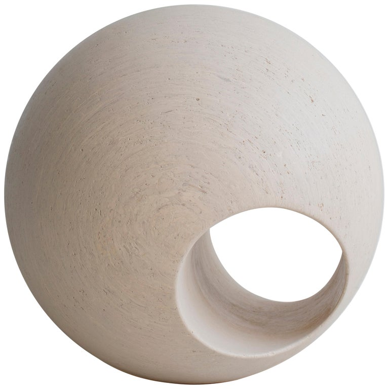 """24"""" Sculptural Wood Sphere in Creamwash by May Furniture For Sale"""