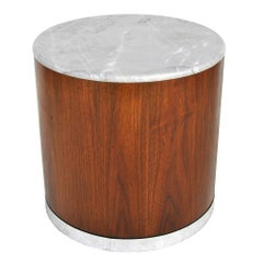 Vintage Marble Wood Pedestal Stand Side End Table