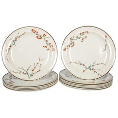 24 Wedgwood Creamware Dinner Plates with Thistle Design Made, circa 1880