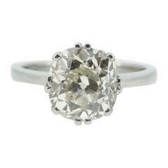 2.40 Carat Antique Old European Cut Diamond Ring, Cusion-Shaped Diamond