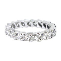 2.40 Carat Approximate Navette Marquise Cut Diamonds Eternity Wedding Band Ring
