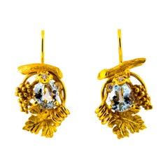2.40 Carat Aquamarine 0.12 Carat White Diamond Yellow Gold Lever-Back Earrings