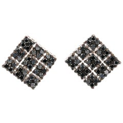 2.40 Carat Black Diamond 14 Karat White Gold Earrings