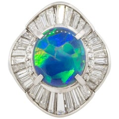 2.40 Carat Blue Oval Opal Diamond Cocktail Large Ring Platinum in Stock