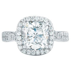 2.40 Carat Conflict Free Cushion Cut GIA Certified Diamond and Platinum Halo