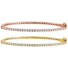 2.40 Carat Diamond All Around Gold Bangle Bracelet