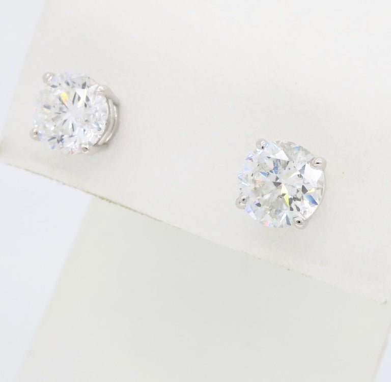 2.40 Carat Diamond Stud Earrings In New Condition For Sale In Webster, NY
