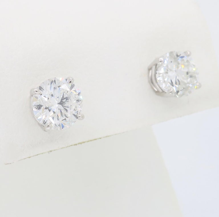Women's or Men's 2.40 Carat Diamond Stud Earrings For Sale
