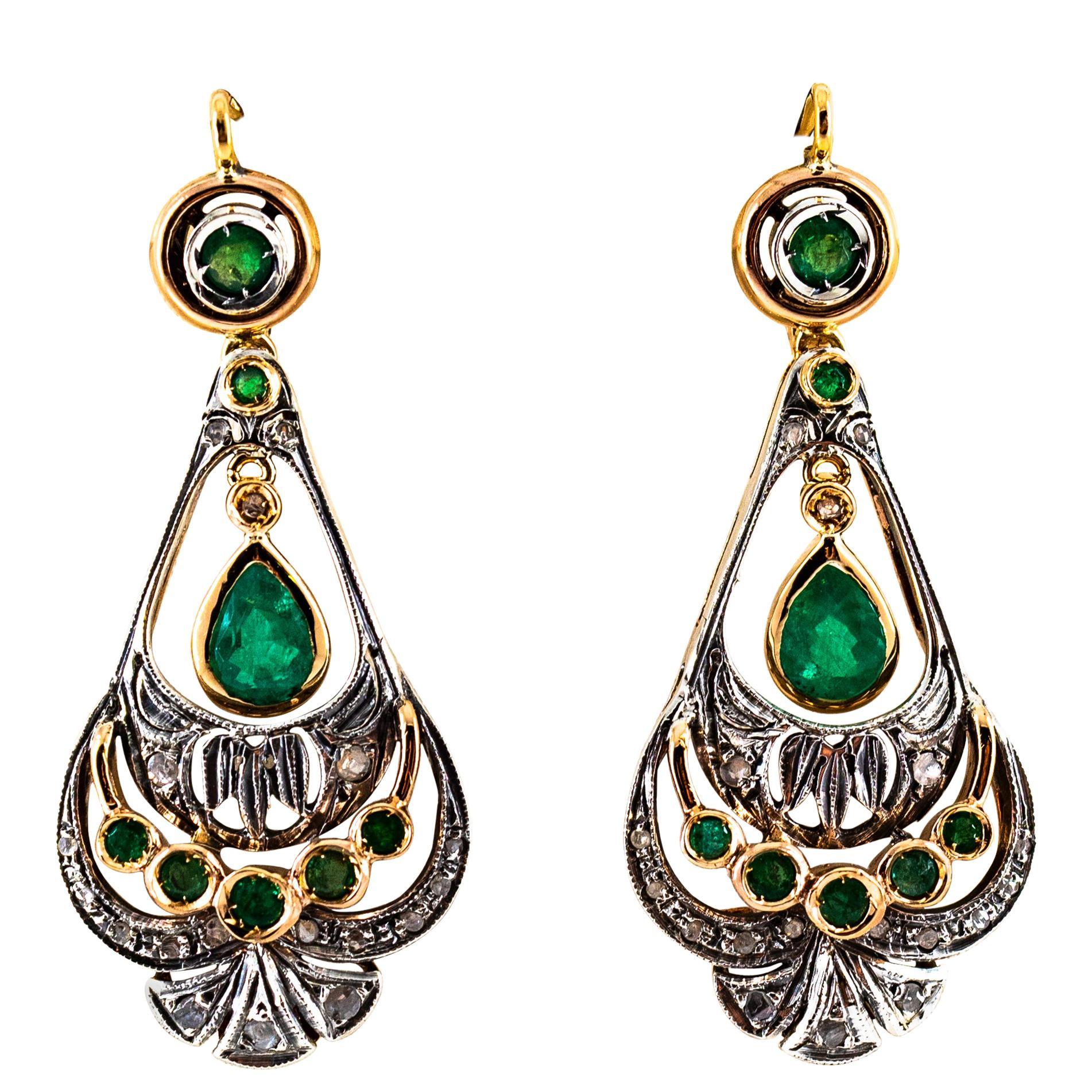 2.40 Carat Emerald 0.30 Carat White Diamond Yellow Gold Lever-Back Earrings