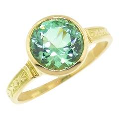 2.40 Carat Minty Green Tourmaline in Custom 18 Karat Cassandra Ring