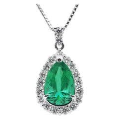 2.40 Carat, Natural, Pear-Shape Emerald and Diamond Pendant Set in Platinum