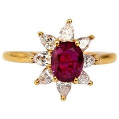 2.40 Carat Natural Ruby Diamonds Halo Pear Ring 18 Karat
