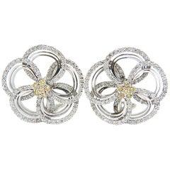 2.40 Carat Natural Yellow Diamonds 3D Flower Cluster Earrings 14 Karat