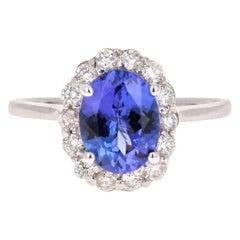 2.40 Carat Oval Cut Tanzanite Diamond 18 Karat White Gold Ring