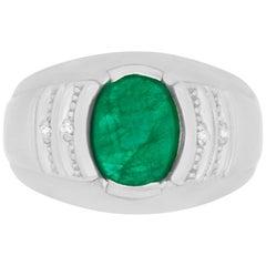 2.40 Carat Oval Emerald 0.02 Carat White Diamond Men Ring Band 14K White Gold
