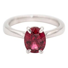 2.40 Carat Oval Pinkish Red Natural Spinel Solitaire 18 Carat White Gold Ring