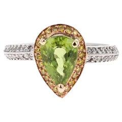 2.40 Carat Peridot Diamond 18 Karat White Gold Engagement Ring