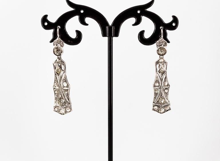 2.40 Carat White Old European Cut Diamond White Gold Lever-Back Drop Earrings For Sale 5